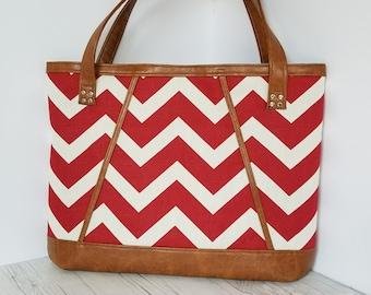Red Tan Tote Bag, Brown Faux Leather, Beach Bag, Work Bag, Travel Bag, Laptop Bag, Diaper Bag, Handbags, Large Purse, Chevron Purse, Gift