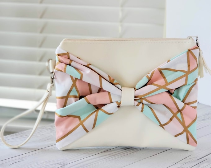 Featured listing image: Bow Purse, Bow Clutch, Pink Clutch, Teal Clutch, Geometric Print, Faux Leather Clutch, Large Clutch, White Clutch, Wristlet Clutch, Gift