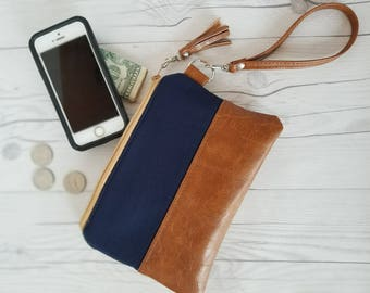Tan Navy Blue Wristlet - Wristlet Wallet - Womens Wallet - Faux Leather - Small Crossbody - Phone Wallet - Wristlet Purse - Bridesmaid Gift