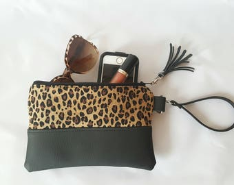 Leopard Wallet - Wristlet Wallet - Womens Wallet - Faux Leather - Small Crossbody - Phone Wallet - Wristlet Purse - Leopard Print - Gift