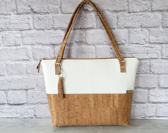 Work Bag Women, Work Tote, Laptop Bag, Cork Bag, Everyday Bag, Travel Bag, Faux Leather Bag, White, Cork Handbag, Cork Purse, Cork Fabric