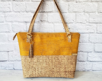 Work Bag Women, Work Tote, Laptop Bag, Cork Bag, Everyday Bag, Travel Bag, Yellow Cork Handbag, Yellow Handbag, Cork Purse, Cork Fabric