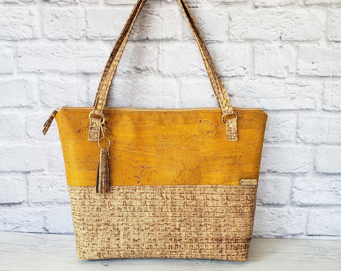 Featured listing image: Work Bag Women, Work Tote, Laptop Bag, Cork Bag, Everyday Bag, Travel Bag, Yellow Cork Handbag, Yellow Handbag, Cork Purse, Cork Fabric