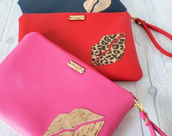 Wristlet Clutch, Red, Leopard, Cork Leather, Faux Leather, Wristlet Bag, Wristlet Purse, Clutch Purse, Clutch Bag, Crossbody, Pouch Zipper,