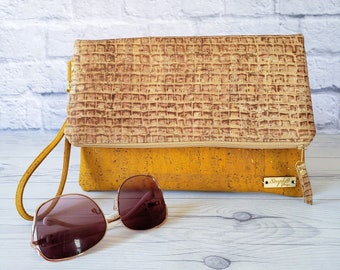 Cork Clutch, Cork Purse, Cork Bag, Cork Wristlet, Cork Crossbody, Yellow Cork, Mustard Yellow, Brown Cork, Leather Cork Clutch, Cork Gifts