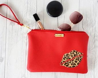 Wristlet Clutch, Red, Leopard, Cork Leather, Faux Leather, Wristlet Bag, Wristlet Purse, Clutch Purse, Clutch Bag, Pouch Bag, Pouch Zipper,