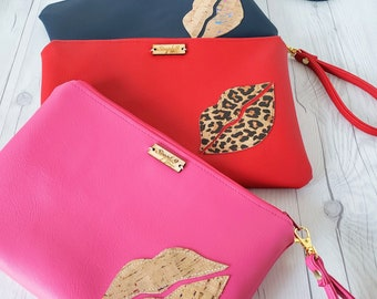 Wristlet Clutch, Pink, Rainbow, Cork Leather, Faux Leather, Wristlet Bag, Wristlet Purse, Clutch Purse, Clutch Bag, Crossbody, Pouch Zipper