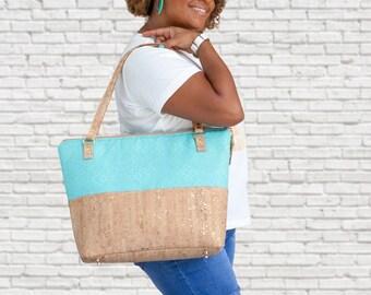 Work Bag Women, Work Tote, Laptop Bag, Cork Bag, Everyday Bag, Travel Bag, Canvas Tote, Teal, Cork Handbag, Cork Purse, Cork Fabric