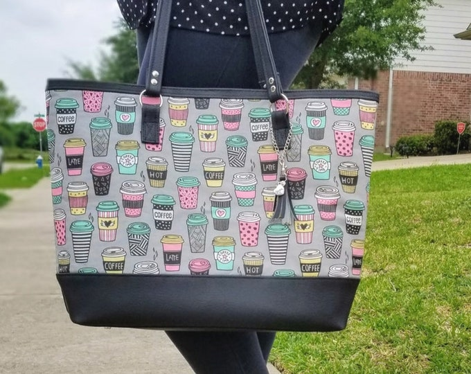 Featured listing image: Canvas Tote Bag, Work Bag, Everyday Tote, Diaper Bag, Travel Bag, Waterproof, Coffee, Gray, Black, Faux Leather, Handbags, Personalized Tote