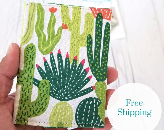 Featured listing image: Cactus Wallet, Green Wallet, Slim Wallet, Small Women Wallet, Business Card Wallet, Credit Card Wallet, Credit Card Case, Gift Idea