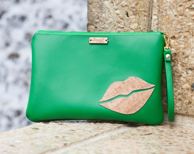 Featured listing image: Wristlet Clutch, Green, Natural Cork Leather, Faux Leather, Wristlet Bag, Wristlet Purse, Clutch Purse, Clutch Bag, Crossbody, Pouch Zipper,