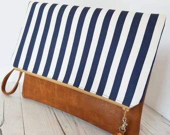 Blue White Clutch Bag, Striped Clutch Purse, Faux Leather Clutch, Large Clutch, Leather Clutch, Wristlet Clutch, Clutch Purse, Gift Idea