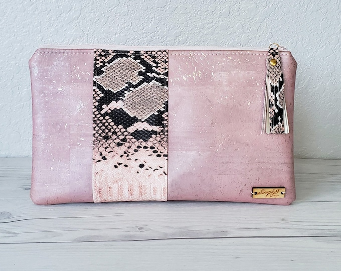 Featured listing image: Blush Pink Clutch, Cork Clutch, Cork Purse, Cork Bag, Cork Wristlet, Cork Crossbody, Snake Skin, Vegan Leather, Leather Clutch, Cork Gift