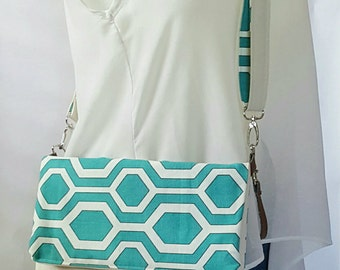 Teal Crossbody Bag, Crossbody Purse, Geometric Crossbody, Crossbody Strap, Faux Leather, Clutch Bag, Crossbody Handbag, Mothers day gift