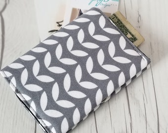 Floral Wallet, Gray Wallet, Slim Wallet, Small Women Wallet, Business Card Wallet, Credit Card Wallet, Credit Card Case, Wallet Keychain