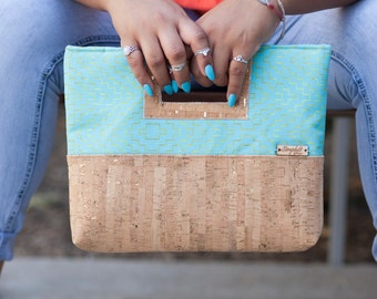 Cork Purse, Clutch Purse, Gold Print, Cork Clutch, Cork Leather, Teal Canvas, Cork Bag, Cork Handbag, Cork Gift, Cluch Gift