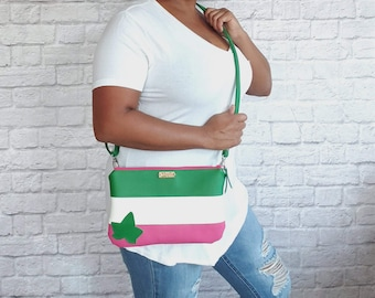Pink and Green Crossbody Bag, Faux Leather, Wristlet, Clutch, Purse, Handbag, Ivy Leave, AKA Inspired, Alpha Kappa Alpha Inspired