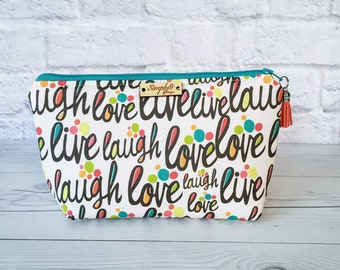 Makeup Bag, Live Laugh Love  Makeup Bag, Multi Color Makeup Bag, Fall, Cosmetic Bag, Toiletry Bag Women, Makeup Box Bag, Small Bag