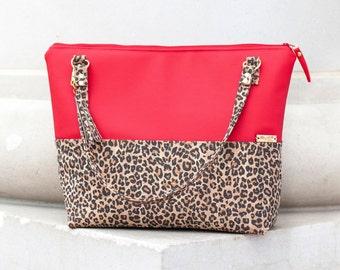 Work Bag, Work Tote, Leopard Print, Laptop Bag, Cork Bag, Everyday Bag, Faux Leather, Red Bag, Cork Handbag, Cork Purse, Cork Fabric