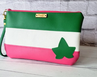 Pink and Green Wristlet, Fanny Pack, Vegan Leather, Crossbody Bag, Clutch Purse, Handbag, Pink, Green