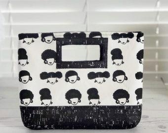 Cork Handbag, Cork Leather, Clutch Purse, Clutch Bag, Cork Bag, Cork Purse, Cork Fabric, Natural Hair Art, Black Cork, Black and White Bag