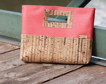 Cork Purse, Clutch Purse, Cork Clutch, Cork Leather, Coral Faux Leather, Cork Bag, Cork Handbag, Cork Fabric, Cork Leather, Cork Gift