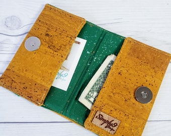 Mustard Yellow Cork Wallet, Slim Wallet, Small Wallet, Credit Card Wallet, Credit Card Case, Business Card Wallet, Cork Fabric, Yellow