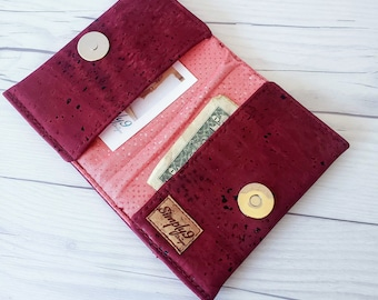 Cranberry Cork Wallet, Slim Wallet, Small Wallet, Credit Card Wallet, Credit Card Case, Business Card Wallet, Cork Fabric, Maroon Wallet
