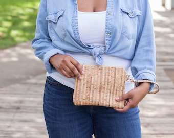 Cork Purse, Cork Wallet, Cork Bag, Cork Wristlet, Cork Clutch, Cork Handbag, Striped Cork, Cork Leather, Natural Cork, Cork Gifts