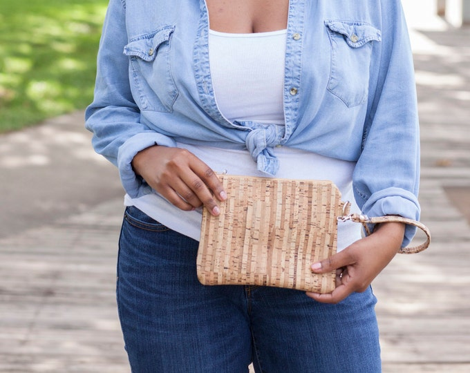 Featured listing image: Cork Purse, Cork Wallet, Cork Bag, Cork Wristlet, Cork Clutch, Cork Handbag, Striped Cork, Cork Leather, Natural Cork, Cork Gifts