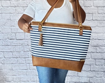 Work Bag Women, Work Tote, Laptop Bag, Everyday Bag, Travel Bag, Faux Leather Bag, Canvas Bag, Blue and White Striped, Water Resistant Bag