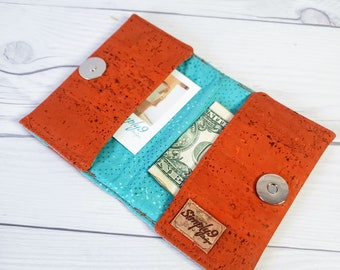 Orange Cork Wallet, Slim Wallet, Small Wallet, Credit Card Wallet, Credit Card Case, Business Card Wallet, Cork Fabric, Pumpkin
