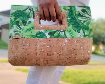 Cork Handbag, Palm Print, Cork Leather, Clutch Purse, Clutch Bag, Cork Bag, Cork Purse, Palm Leaf Print, Cork Fabric, Green Clutch