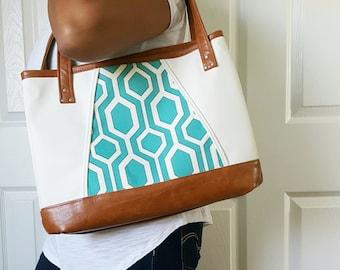 Teal Turquoise Brown White Faux Leather Handbag, Tote, Travel Bag, Diaper Bag, Laptop Bag, Large Handbag, Work Bag, Teal Print, Birthday