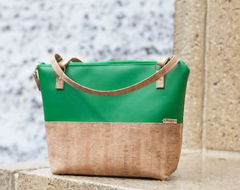Work Bag Women, Work Tote, Green Bag, Laptop Bag, Cork Bag, Everyday Bag, Faux Leather, Red Bag, Cork Handbag, Natural Cork, Cork Fabric