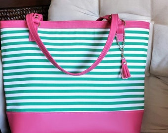 Work Bag Women, Work Tote, Laptop Bag, Everyday Bag, Travel Bag, Faux Leather Bag, Canvas Bag, Green Stripe, Pink Purse, Water Resistant