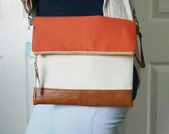 Orange Crossbody Bag, Crossbody Purse, Tan Crossbody, Crossbody Strap, Brown Faux Leather, Clutch Bag, Crossbody Handbag, Mothers day gift