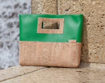 Cork Purse, Clutch Purse, Cork Clutch, Cork Leather, Green Faux Leather, Cork Bag, Cork Handbag, Cork Fabric, Cork Gold, Cork Silver, Gift