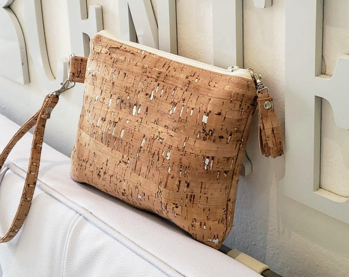 Featured listing image: Cork Wristlet Wallet - Multiple Colors - Optional Crossbody Strap