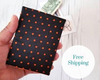 Orange Wallet, Polka Dot Wallet, Black Wallet, Small Women Wallet, Business Card Wallet, Credit Card Wallet, Gift Card Holder, Slim Wallet
