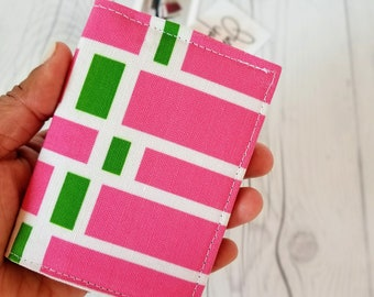 Pink Green Wallet, Small Wallet, Small Women Wallet, Business Card Wallet, Credit Card Wallet, Credit Card Case, Wallet Keychain, Gift Idea