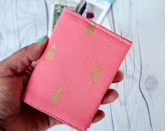 Pineapple Wallet, Coral Wallet, Slim Wallet, Small Women Wallet, Business Card Wallet, Credit Card Wallet, Credit Card Case, Wallet Keychain