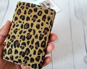 Leopard Wallet, Small Wallet, Small Women Wallet, Business Card Wallet, Credit Card Wallet, Credit Card Case, Wallet Keychain, Leopard Gift