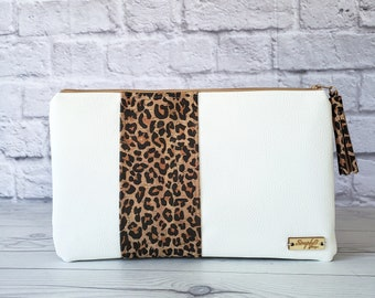 Cork Clutch, Cork Purse, Cork Bag, Cork Wristlet, Cork Crossbody, Leopard Cork, Cork Silver, White Leather, Leather Clutch, Cork Gifts