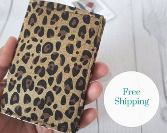 Leopard Wallet, Brown Wallet, Small Wallet, Small Women Wallet, Business Card Wallet, Credit Card Wallet, Credit Card Case, Leopard Gift
