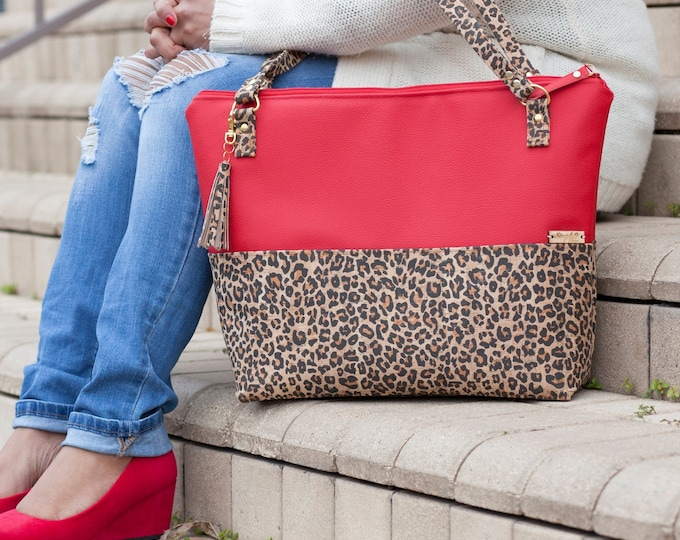 Featured listing image: Work Bag, Work Tote, Leopard Print, Laptop Bag, Cork Bag, Everyday Bag, Faux Leather, Red Bag, Cork Handbag, Cork Purse, Cork Fabric