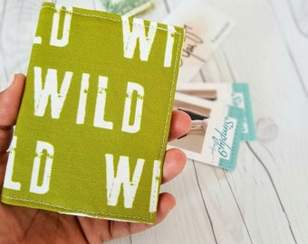 Wild Wallet, Olive Green Wallet, Small Wallet, Small Women Wallet, Business Card Wallet, Credit Card Wallet, Credit Card Case, Keychain