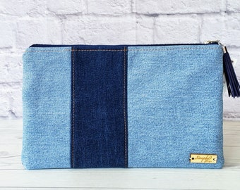 Denim Clutch, Denim Purse, Denim Bag, Denim Wristlet, Denim Crossbody, Jean Fabric, Denim, Up cycle, Jean Clutch, Denim Fabric, Denim Gifts