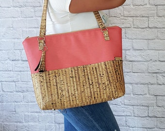 Work Bag Women, Work Tote, Coral Bag, Laptop Bag, Cork Bag, Everyday Bag, Faux Leather, Coral Tote, Cork Handbag, Cork Leather, Cork Fabric