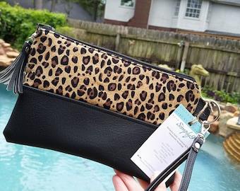 Leopard Wallet - Wristlet Wallet - Womens Wallet - Vegan Leather - Small Crossbody - Phone Wallet - Wristlet Purse - Leopard Print - Gift